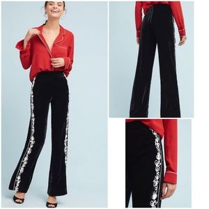 Anthropologie Maddie Velvet Flare Trousers Pants